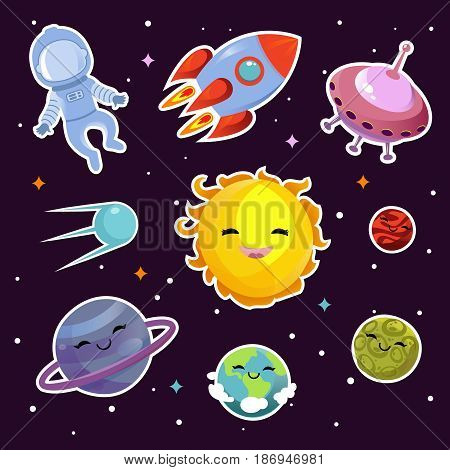 Space vector fashion patch badges with planets, stars and alien spaceships. Planets and sun badges, illustration of star sun badge