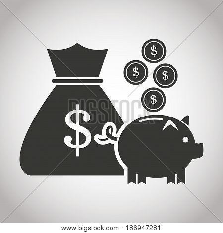 bag money piggy coins currency. banking pictogram image vector illustration