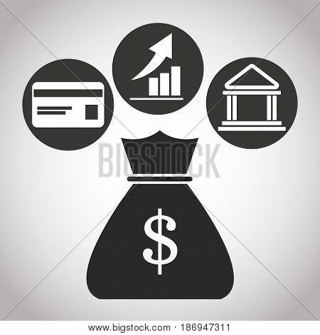 bag with money dollar, credit card bank, graph. banking pictogram image vector illustration