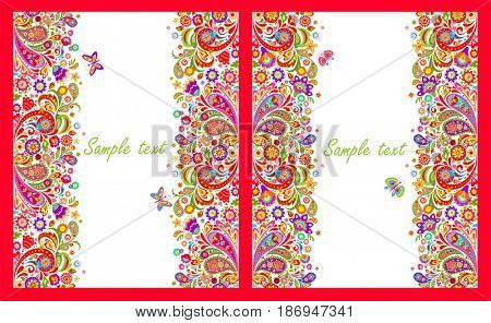 Greeting cards with seamless decorative borders with colorful abstract flowers print on white background