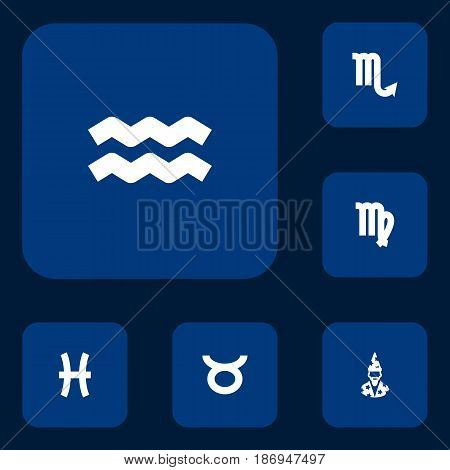 Set Of 6 Astronomy Icons Set.Collection Of Zodiac Sign, Fishes, Virgin And Other Elements.