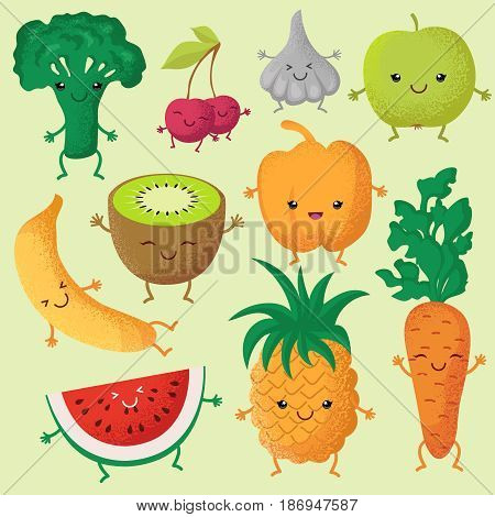 Happy cartoon fruits and garden vegetables with funny cute faces vector characters. Fruits smile face, illustration of character vegetable and fruit
