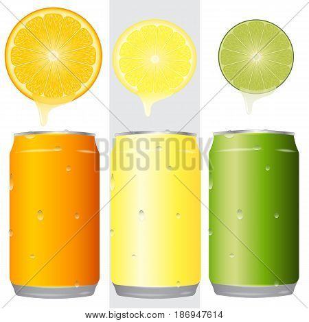a set of blank aluminum cans 330 ml three colors in the water droplets. Orange lemon lime round slices dripping with juice. mockup