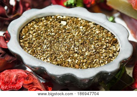 Aroma ginseng incense and flower petals. Beauty spa salon concept background.