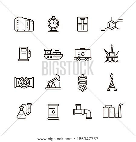Oil and gas manufacturing and industrial equipment vector line icons. Industrial oil and gas, illustration of industry energy oil