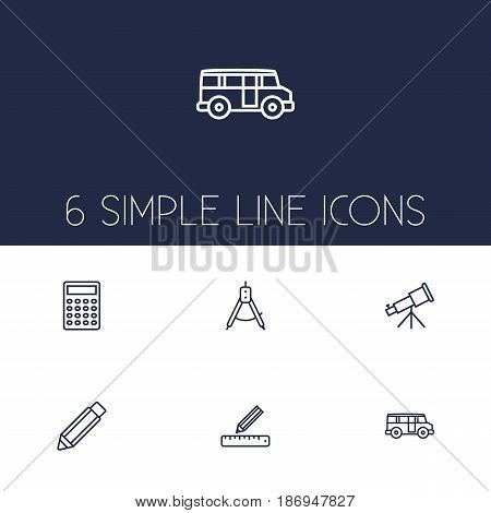 Set Of 6 Education Outline Icons Set.Collection Of Compass, Telescope, Ruler And Other Elements.