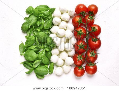 Ingredients Of Mediterranean Cuisine In The Form Of The Italian Flag.top View.