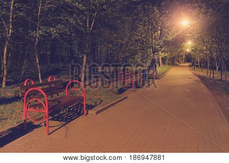 Landscape of the night park with luminous lanterns and benches. A walking path for walking at night in a park in the summer with benches and lanterns.