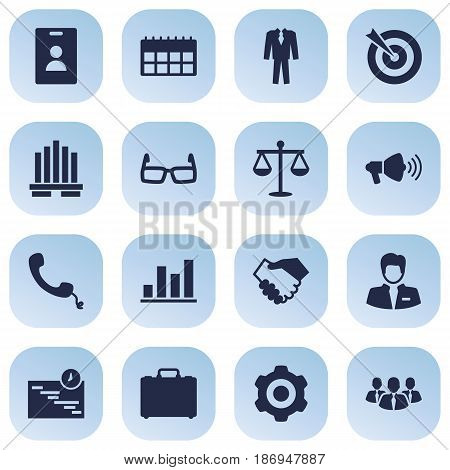Set Of 16 Business Icons Set.Collection Of Telephone, Partnership, Diagram And Other Elements.