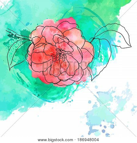 Vector and watercolor drawing of tender pink camellia flower in bloom, on branch with leaves, on teal brush stroke texture, with place for text, template for greeting card or wedding invitation