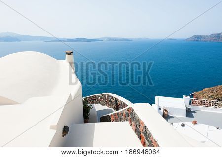 White architecture on Santorini island Greece. Travel and vacation