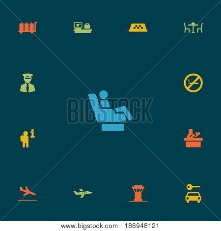 Set Of 13 Aircraft Icons Set.Collection Of Carriage, Vip, Aircraft And Other Elements.