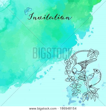 A vector invitation template with a butterfly and a couple of Victorian birds on a tree branch with leaves and flowers, on a watercolor texture, with a place for text