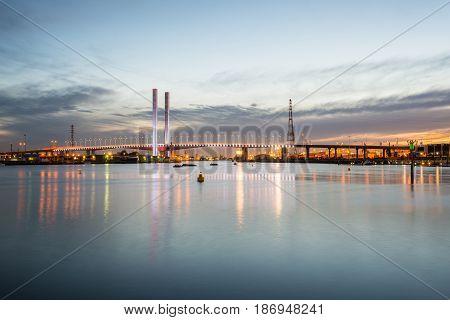 Bolte bridge the iconic landmark of Docklands, Melbourne, Australia.