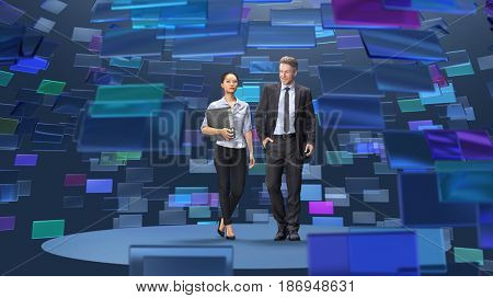 man and woman in broadcasting studio, 3d illustration
