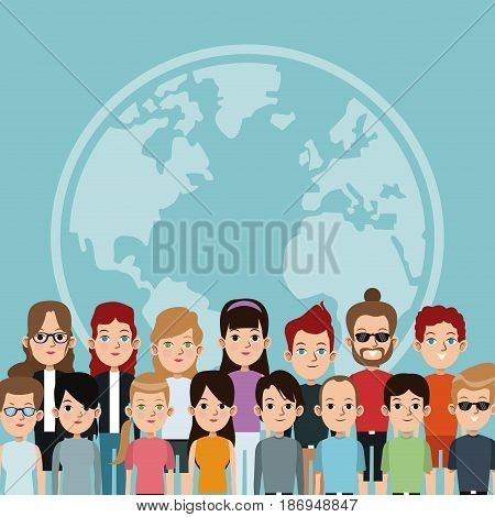 cartoon community world people society international vector illustration