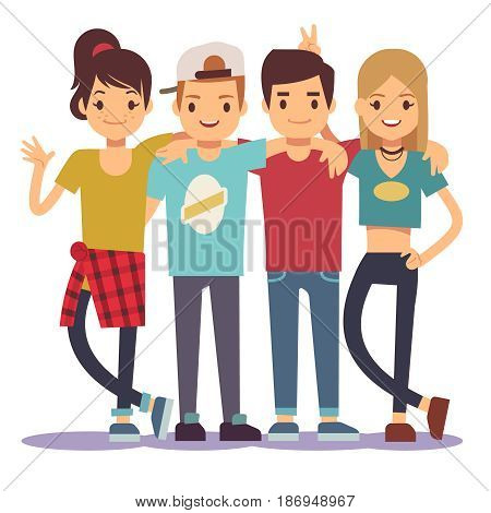 Smiling young hugging friends. Adolescentes friendship vector concept. Friendship together illustration, cartoon gilrs and boys friends