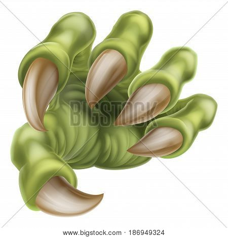 An illustration of a scary green monster claw hand