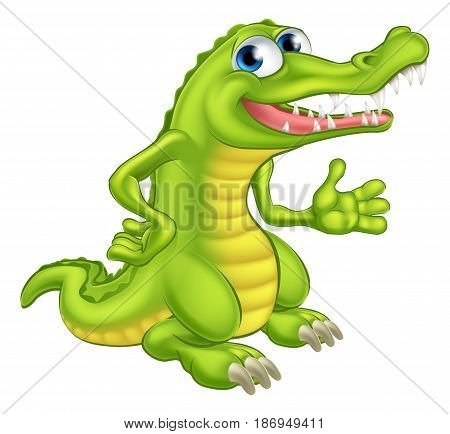 An illustration of a cute cartoon crocodile or alligator
