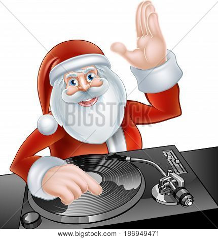 An illustration of cute cartoon Santa Claus party DJ at the decks on