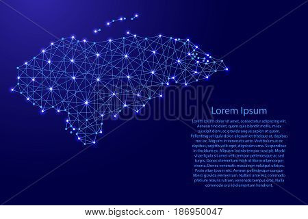 Map of Honduras from polygonal blue lines and glowing stars vector illustration