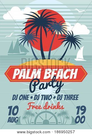Beach party retro summer vector poster or flyer. Banner beach party dance, illustration of flyer summer party