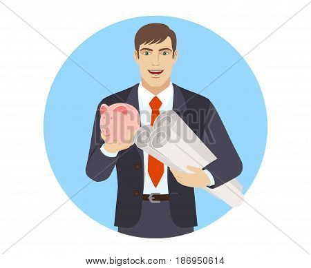 Businessman with piggy bank holding the project plans. Portrait of businessman character in a flat style. Vector illustration.