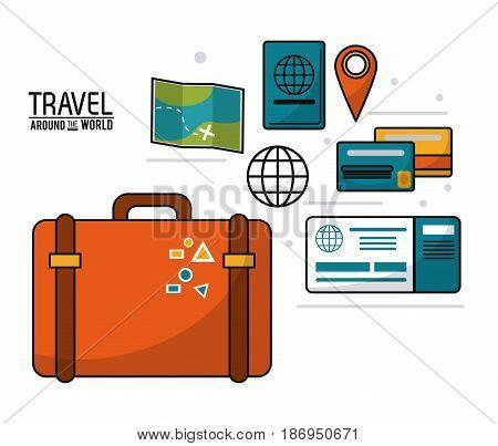 travel around the world. suitcase passport ticket map journey concept vector illustration