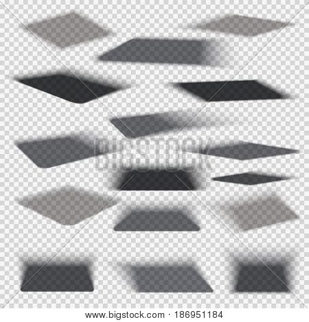 Box square shadows with soft edge isolated on transparent background vector set. Effect of shadow transparent collection illustration