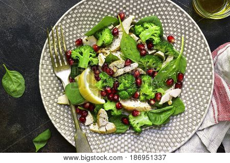 Vegetable Green Salad With Chicken And Pomegranate.top View.