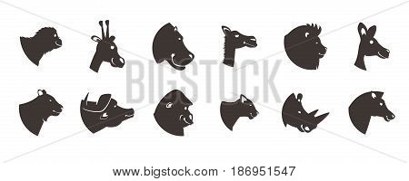 Animal icons collection of twelve isolated side face view of wild beast heads on blank background vector illustration
