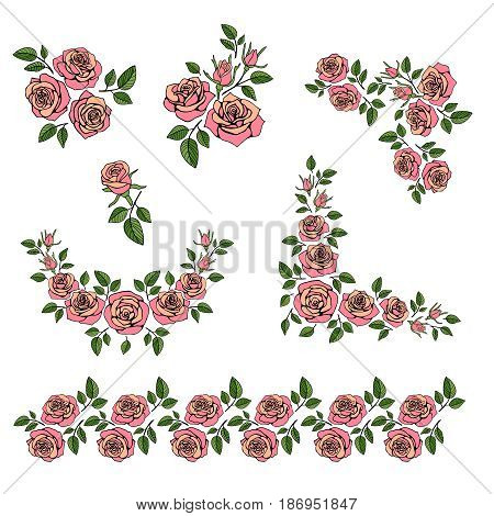Romantic wedding bouquet with red roses vector set. Tea-rose blossom, frame corner form rose illustration