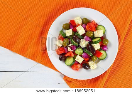 Delicious Greek Salad On White Plate