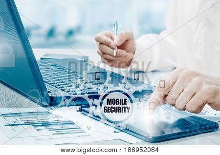 Business concept, businessman with smartphone. Worldwide connection technology. Mobile security