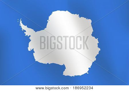 Flag of Antarctica with a little Waving, Shading & Flag Colors separated layers - Vector Illustration