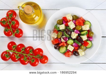 Greek Salad With Fresh Vegetables, Top View