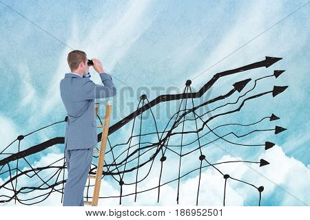 Digital composite of Digital composite image of businessman using binoculars on ladder with graph in sky
