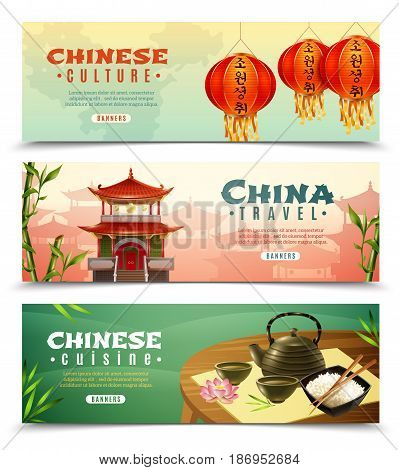 Three cartoon china travel horizontal banner set with button and Chinese culture descriptions vector illustration