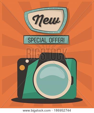 vintage card new special offer camera photografic vector illustration