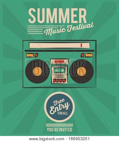 summer music festival stereo radio vintage greeting vector illustration