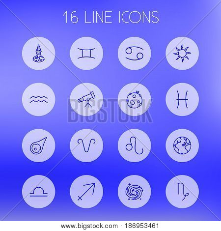 Set Of 16 Horoscope Outline Icons Set.Collection Of Sagittarius, Aqurius, Moon And Other Elements.