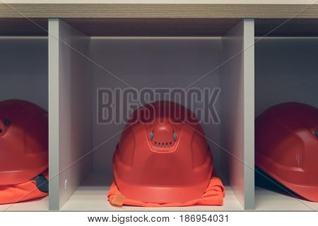 Safety Helemets In The Locker