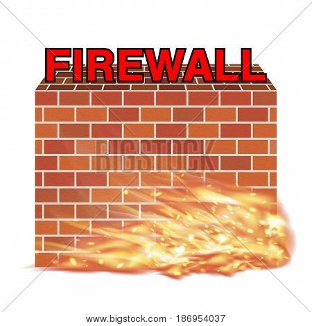 firewall with brick wall  and real fire