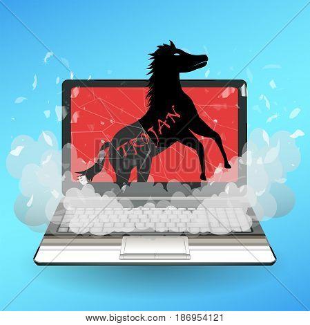 a trojan horse virus computer destroy laptop