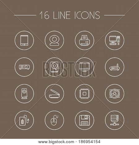 Set Of 16 Notebook Outline Icons Set.Collection Of Printer, Monitor, Tablet And Other Elements.