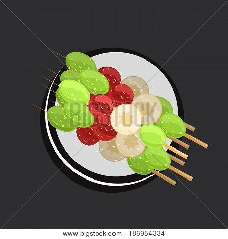 Cartoon vector illustration of asian colorful sweetmeats