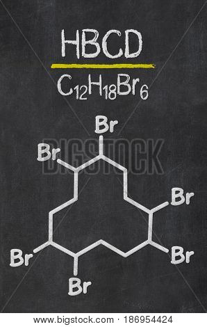 Blackboard With The Chemical Formula Of Hbcd
