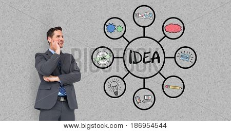 Digital composite of Digital composite image of businessman looking at idea chart against gray wall