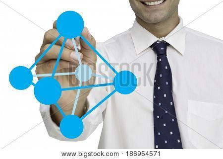 Digital composite of Digital composite image of businessman drawing geometric structure against white background