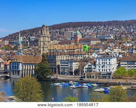 Zurich, Switzerland - 11 April, 2016: view of the city from a Ferris wheel temporarily installed on Burkliplatz square. Zurich is the largest city in Switzerland and the capital of the Swiss canton of Zurich.